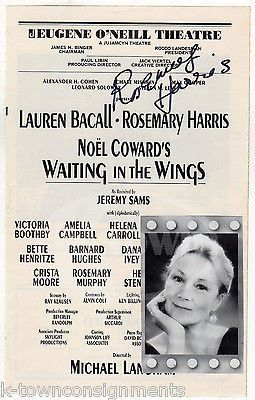 ROSEMARY HARRIS WAITING IN WINGS THEATRE ACTOR AUTOGRAPH SIGNED PLAYBILL PAGE