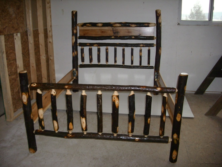 This rustic log hickory bed frame is perfect for a rustic
