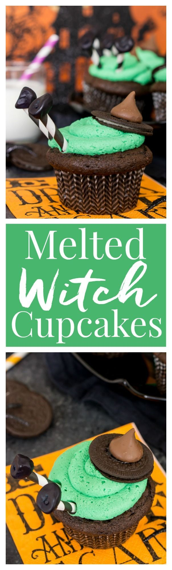 These Melted Witch Cupcakes are fun, cute, and delicious! They're easy to build and the perfect way to bring the Halloween spirit to life at your party!