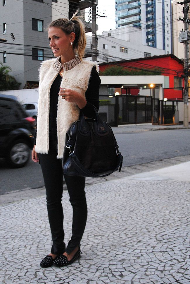GLAM4YOU - NATI VOZZA - LOOK - WINTER - VEST FAKE FUR - LOOK DO DIA