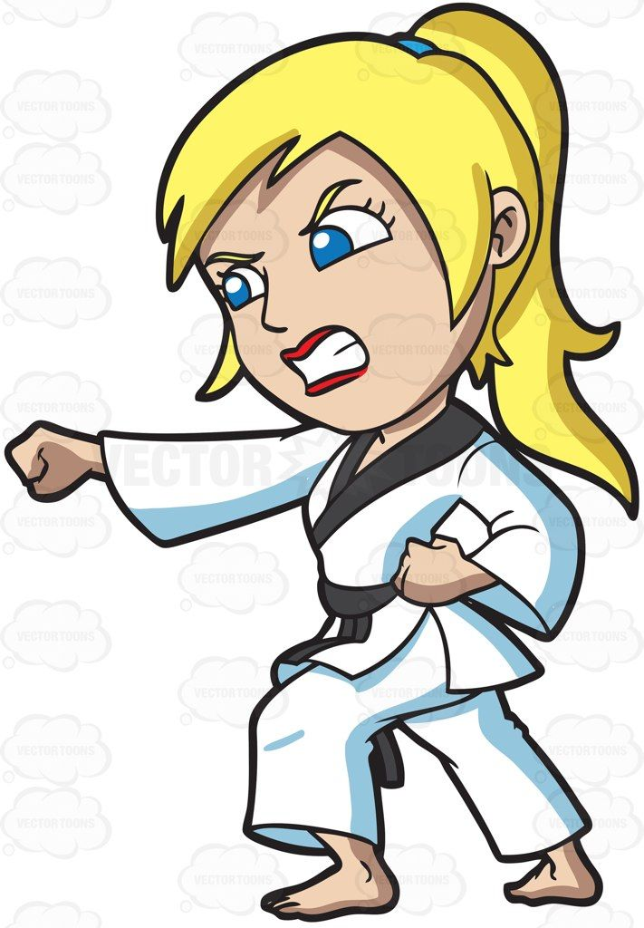 A Woman Practicing Her Taekwondo Punch Cartoon Clipart ...