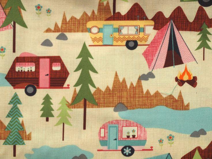 Designerstoffe USA Stoff Camping ein Designerstück von