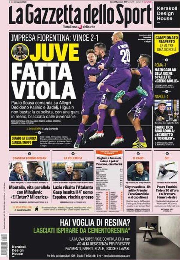 Rassegna stampa quotidiani sportivi Gazzetta dello Sport prima pagina 16 gennaio 2017