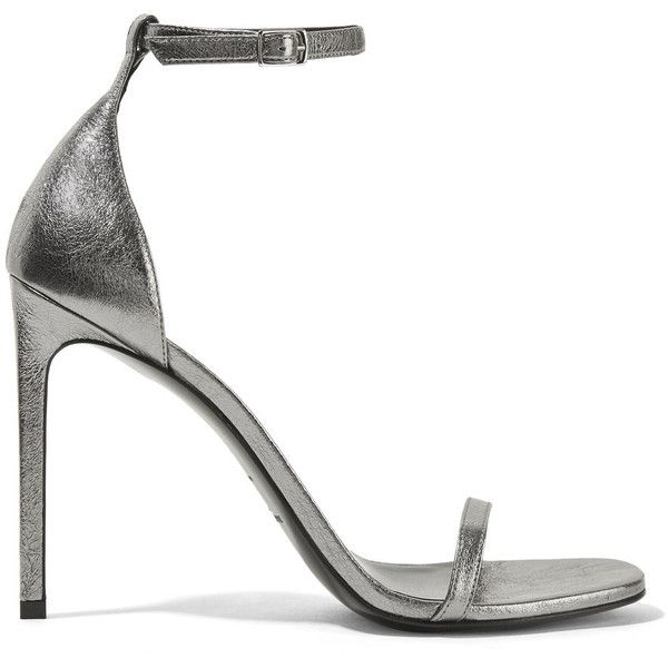 Saint Laurent Jane metallic textured-leather sandals ($725) ❤ liked on Polyvore featuring shoes, sandals, silver, metallic shoes, strap sandals, metallic sandals, yves saint laurent sandals and high heeled footwear