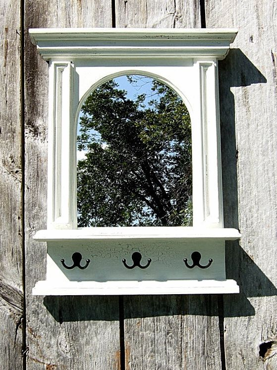 The White Arch Mirror with Shelf & Hooks by ArcadianCottage