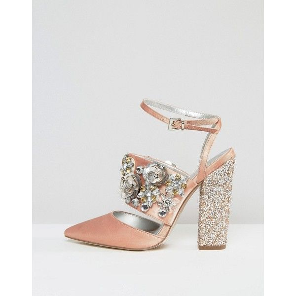 Asos Papaya Bridal Embellished Heels 85 Liked On Polyvore Featuring Shoes Pumps Ankle Strap Pum Wedding Shoes Embellished Heels Rhinestone Wedding Shoes