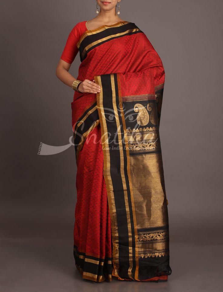Seeta Self-Weave Red With Bold Black Border Pallu Pure Gadwal Silk Cotton Saree