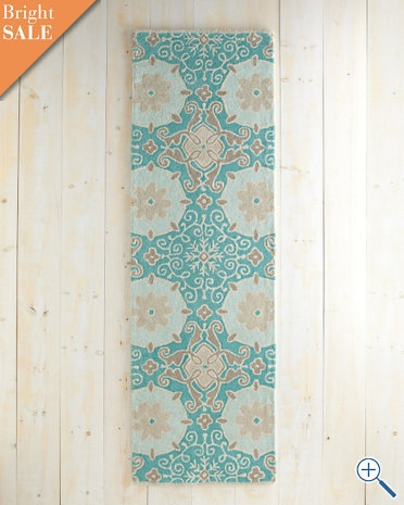 so into turquoise: Mosaics Tufted, Hallways Rugs, Garnet Hill, Floral Mosaics, Entryway Rug, Decor Inspiration, Wool Rugs, Tufted Wool, Mosaics Patterns