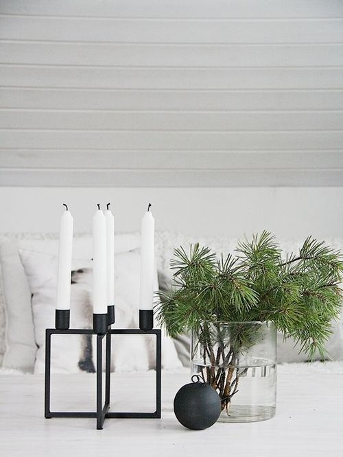 Kubus 4 Danish and Scandinavian Black Lacquered Steel Candleholder- By Lassen
