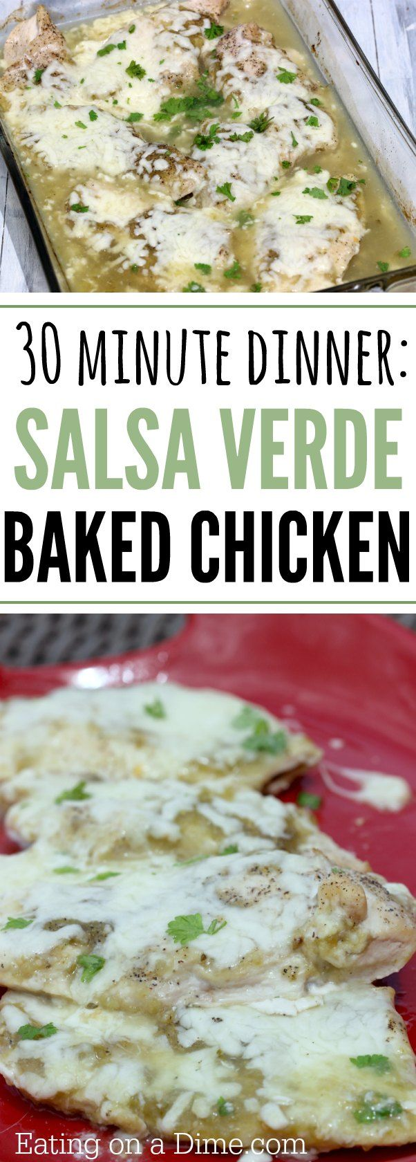 Easy chicken dinner! Salsa Verde baked chicken recipe. This salsa verde chicken is easy and delicious. We love the verde sauce over everything!