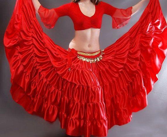 SALE SHIPPING INCLUDED Flamenco skirt, Gypsy skirt, 5-tier skirt, 14 yards skirt, Belly dance skirt, Red satin skirt, Flamenco, Gypsy, Boho