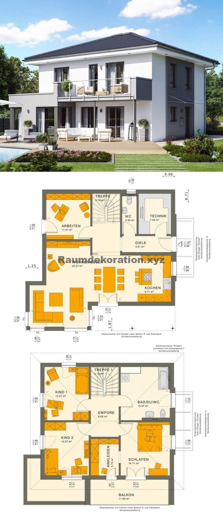 Baukunst Ideen – Stadtvilla modern Neubau mit Walmdach Baukunst, Erker & Loggia – Einfamilienh
