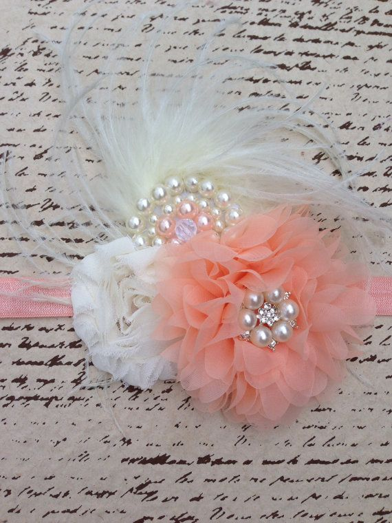 Peach and cream fancy flower headband with pearl by DonnaBellaBows, $24.95