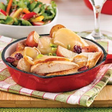Raclette au poulet, canneberges et pommes de terre - Pour recevoir - Recettes 5-15 - Recettes express 5/15 - Pratico Pratique