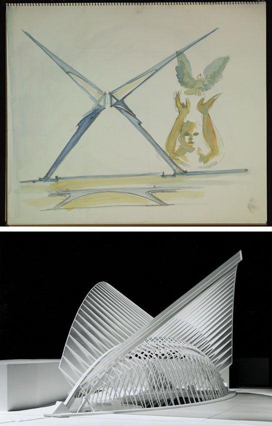 A model of New York's World Trade Center Transportation Hub designed by Calatrava, with a related sketch from one of his notebooks. - Santiago Calatrava