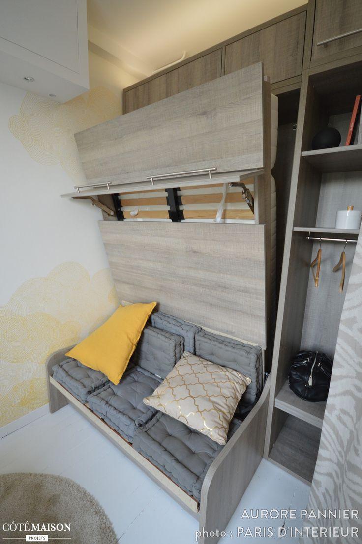 chambre de bonne parsienne paris 05 9m2 aurore pannier c t maison small spaces petits. Black Bedroom Furniture Sets. Home Design Ideas