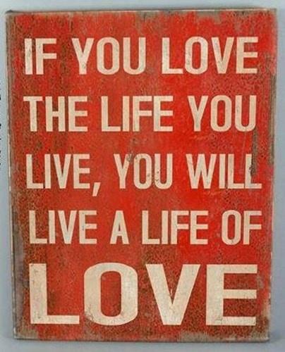 1linerz Canvasdoek Op Frame 47 x 60cm - Tekst 'Life of Love'