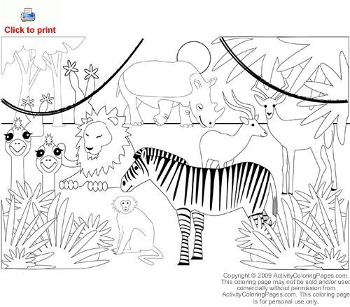 Jungle Animals Coloring Pages Preschool : 21 best number 1 images on pinterest
