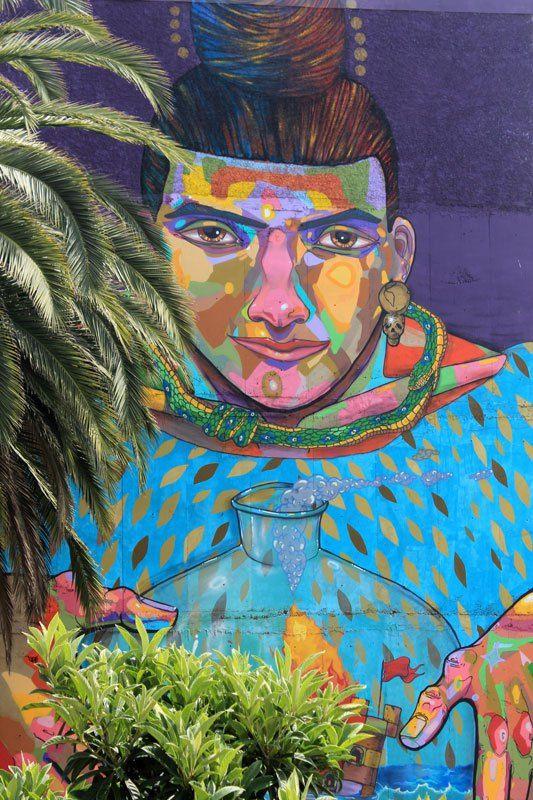 #Impulseearth #Valparaiso #Chile #Graffiti #Street Art #Face #Painting #Creativity #Blue #Pink Nose #Palm Tree #Art #Artist