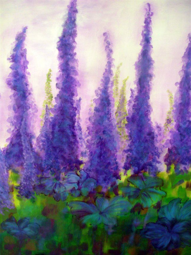 acrylic - Purple fairytale. by Merete Holm Vinther
