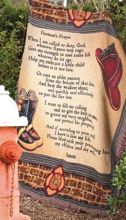 """Throw Blanket Fireman's Prayer All Fired Up Cotton 50"""" x 60"""" Made in The USA 