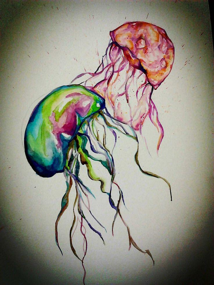aquarel kwallen koud/warm kleuren