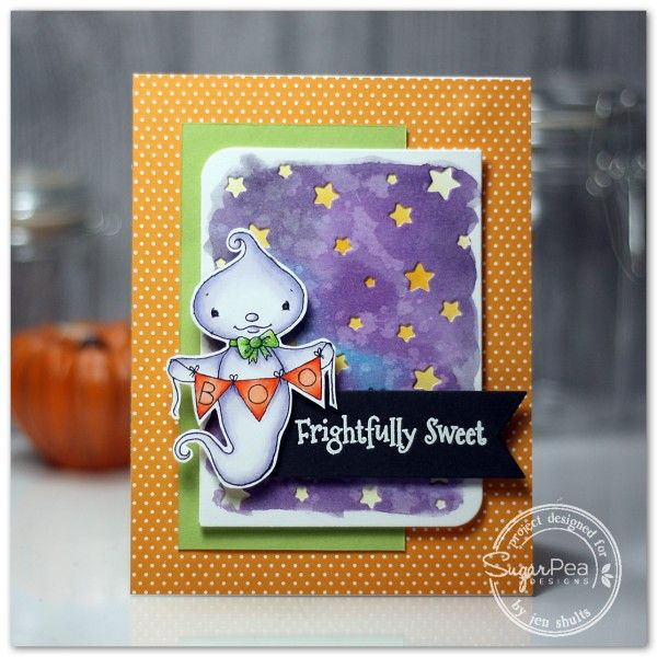 Card by Jen Shults for SugarPea Designs.  Stamp: Eek-A-Boo.  SugarCut Dies: Scattered Stars. Halloween Card.