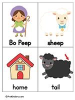 Little Bo Peep word cards with other nursery rhymes. Free printables! Students hold up the card when you say the word.