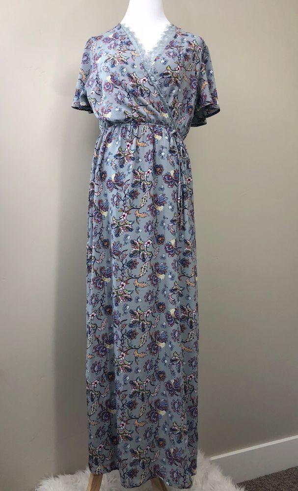 Monteau Los Angeles Junior Womens Maxi Dress Size Large Floral Lace
