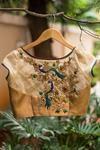 Gold dotted brocade bustier blouse wt sheer sleeves + back wt zardosi appliqué