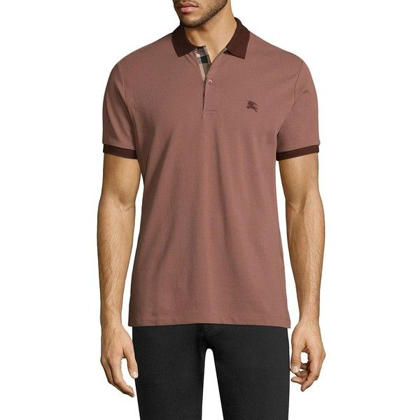 Burberry Lawford Core Oxford Short Sleeve Cotton Polo ($175) ❤ liked on Polyvore featuring men's fashion, men's clothing, men's shirts, men's polos, men's cotton short sleeve shirts, mens oxford shirts, mens short sleeve oxford shirt, mens polo collar shirts and mens polo shirts