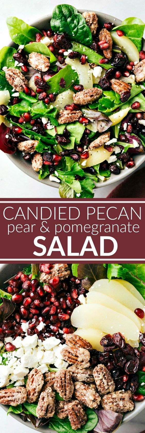 BEST HOLIDAY SALAD! An easy to make and delicious side salad -- candied pecans, pears, pomegranates, dried cranberries, and feta cheese with a simple incredible raspberry poppyseed dressing. via chelseasmessyapron.com