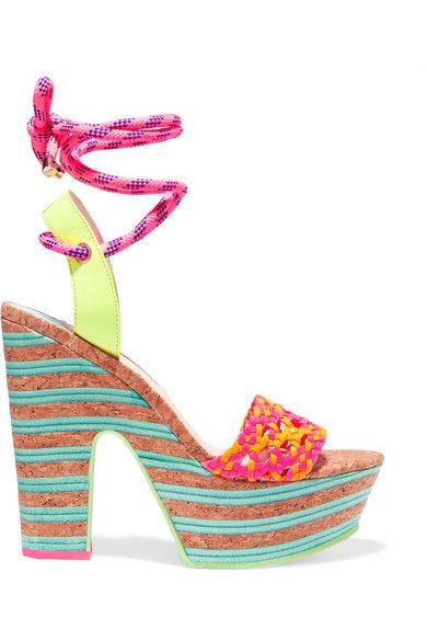 Sophia Webster - Jade Neon Leather And Cork Platform Sandals - Pink - IT36