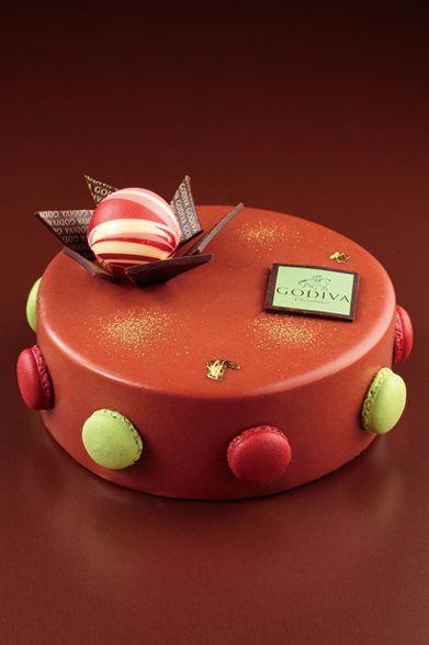 Godiva Christmas Cake with macarons