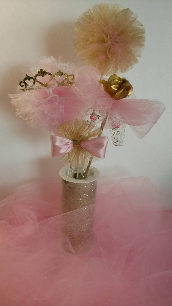 Pink Gold Centerpiece first birthday princess tiara crown theme baby shower tutu centerpiece ballerina centerpiece