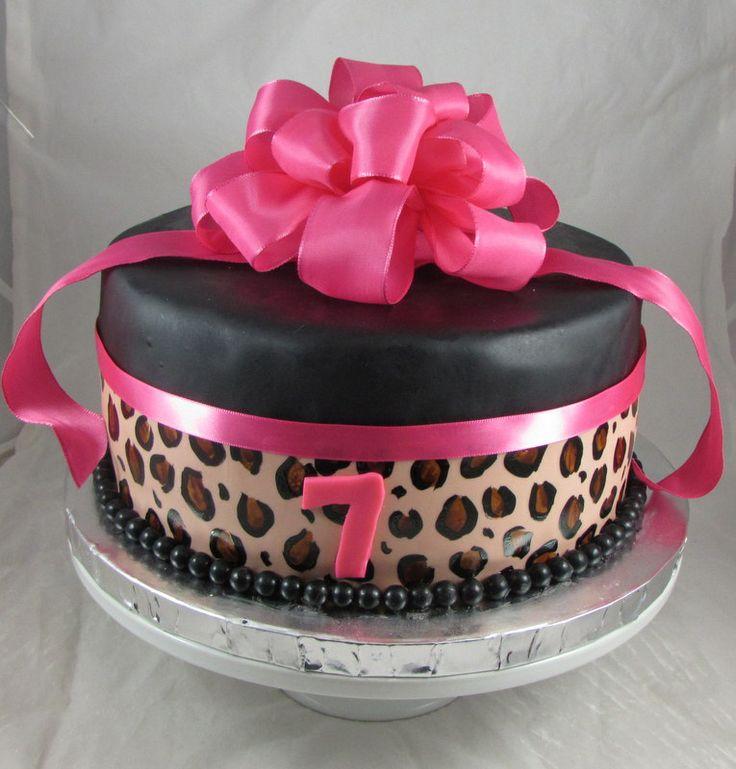 Hot Pink Leopard Print Birthday Cake! -