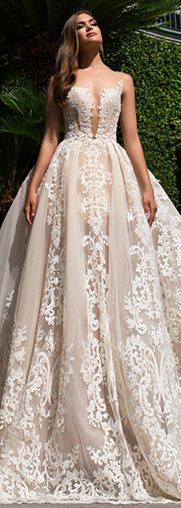 Fabulous Tulle & Organza Bateau Neckline See-through A-Line Wedding Dresses With Lace Appliques