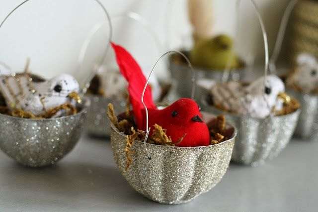 Glittery Vintage Jello Mold Bird Nest Ornaments - Primitive and Proper