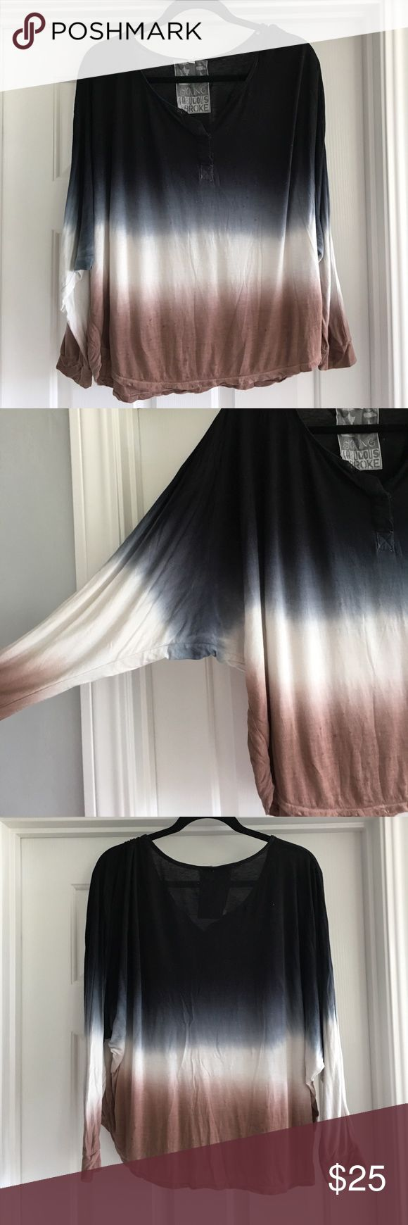 Young, fabulous and broke ombré top Young, fabulous and broke ombré top with split neck and dolman sleeves. Size large, fits more like a medium Young Fabulous & Broke Tops Blouses