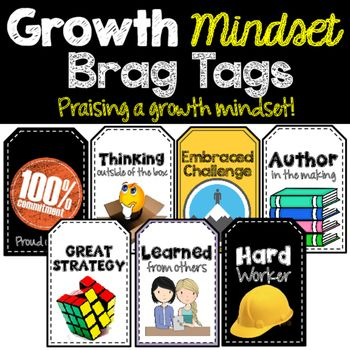 How are these Brag Tags different? Most Brag Tags are giving the wrong kind of praise. To help foster a growth mindset in students we have to change the way we praise students. Instead of Smart Cookie, Top Dog or Star Student we need to reward actions that lead to a growth mindset.