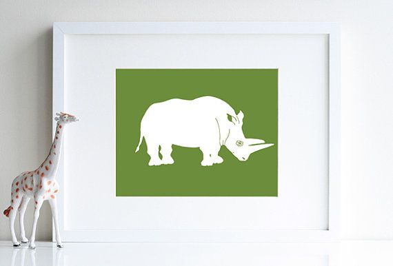 Safari room decor rhinoceros silhouette 8 x 10 by nevedobson, $22.00