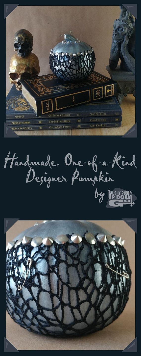 Handmade and one-of-a-kind, this unique designer pumpkin is perfect for a punk goth Halloween or fall event. Use it for a party, wedding, or leave it out all year round! #pumpkin #fall #falldecor #halloween #handmade #oneofakind #fallwedding #halloweenparty #halloweendecorations #punk #goth