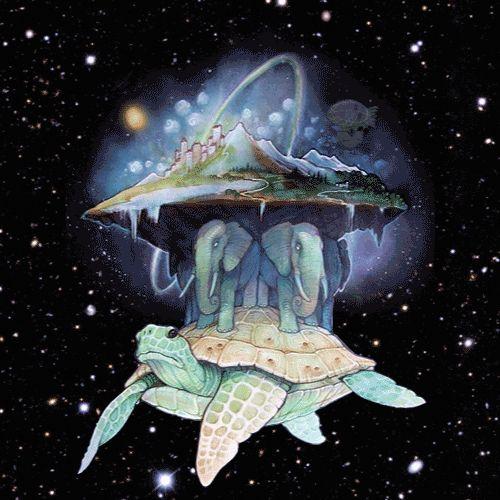 Świat Dysku – ...niesiony jest na grzbiecie ogromnego żółwia Wielkiego A'Tuin'a. Na jego grzbiecie stoją cztery słonie: Berilia, Tubul, Wielki…