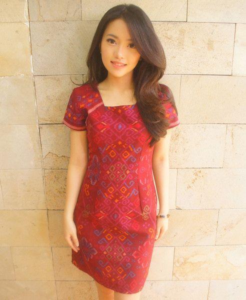 Essential Tenun Dress Red (Short Sleveed)