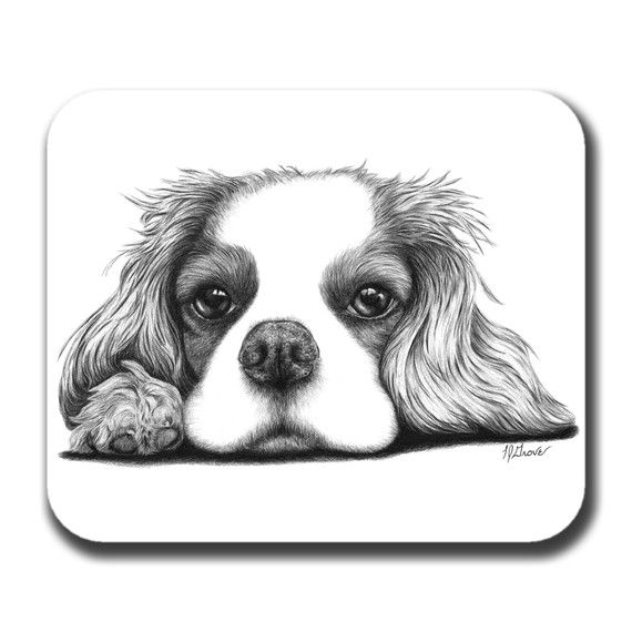 Cavalier King Charles Spaniel on Paw Dog Art Mouse Pad