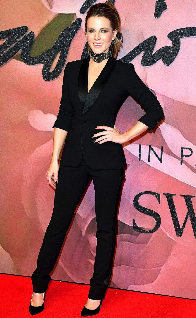 Kate Beckinsale in a black tuxedo and choker at the 2016 British Fashion Awards