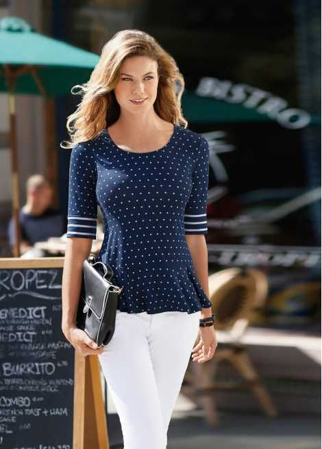 Shirt donkerblauw gestippeld - Voor haar - bonprix.nl