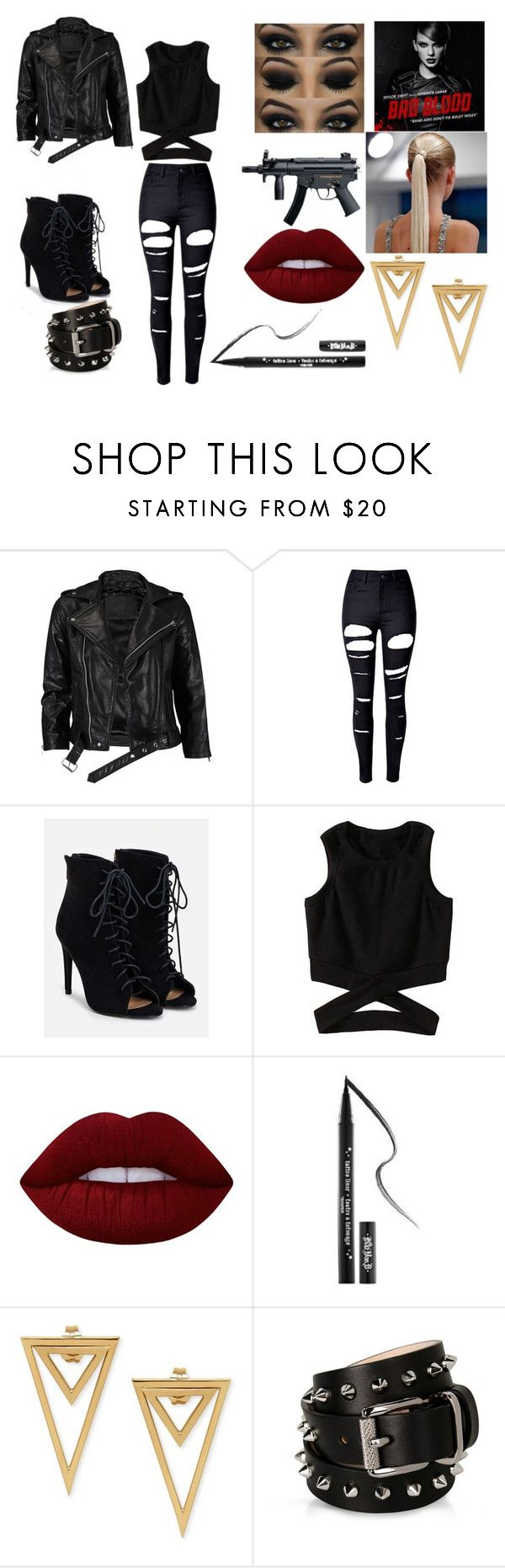 """""""Taylor Swift Bad Blood costume idea"""" by djj0710 ❤ liked on Polyvore featuring VIPARO, WithChic, JustFab, Lime Crime, Kat Von D and Barbara Bui"""