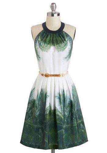 Cabana Cotillion Dress - Long, White, Green, Print, Pockets, Belted, Party, Halter, Crew, Beach/Resort, Luxe, Summer