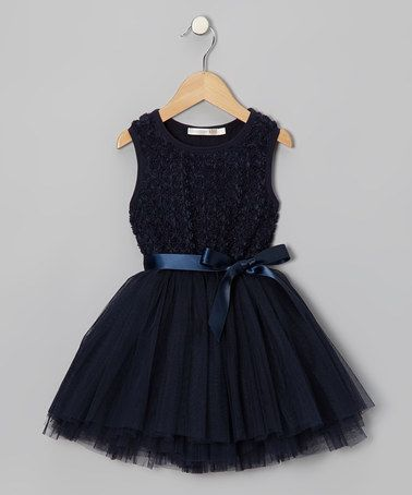 Take a look at this Navy Rosette A-Line Dress - Infant, Toddler & Girls by Designer Kidz on #zulily today!